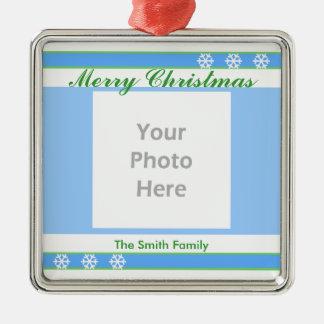 Merry Christmas Blue, White, Green (photo frame) Christmas Ornament
