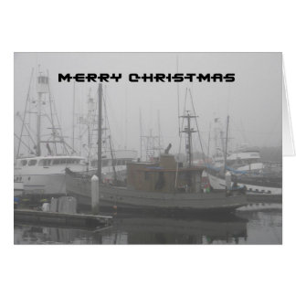Merry Christmas - Boat Docked at Misty San Diego Card