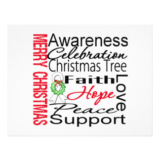 Merry Christmas Bone Cancer Ribbon Collage Full Color Flyer