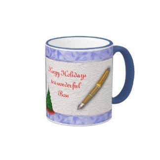 Merry Christmas Boss Christmas with pen add text Ringer Mug