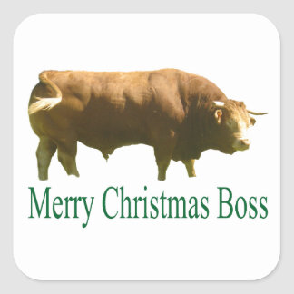 Merry Christmas Boss Limousin Bull Square Sticker