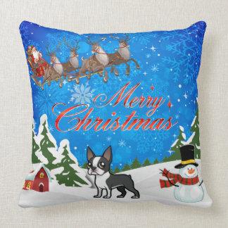 Merry Christmas Boston Terrier Cushion
