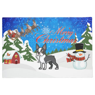 Merry Christmas Boston Terrier Doormat