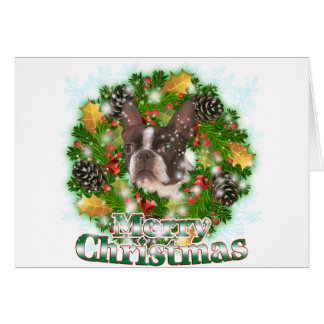 Merry Christmas Boston Terrier Greeting Card