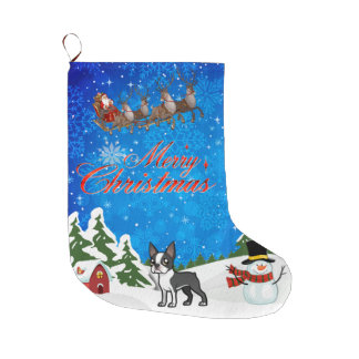 Merry Christmas Boston Terrier Large Christmas Stocking