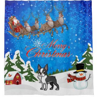 Merry Christmas Boston Terrier Shower Curtain