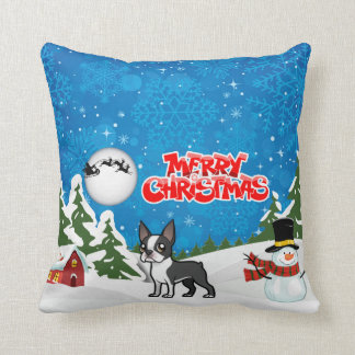 Merry Christmas Boston Terrier With A Snowman Cushion