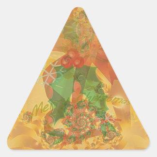 Merry Christmas Bow Triangle Sticker