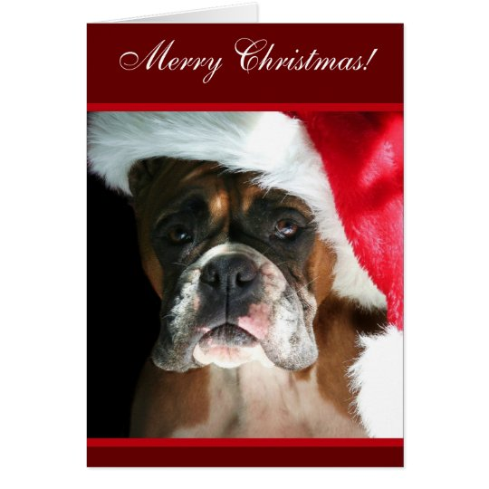 Merry Christmas Boxer Dog greeting Card