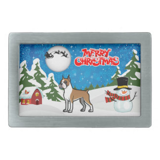 Merry Christmas Boxer With A Snowman And Santa Belt Buckles