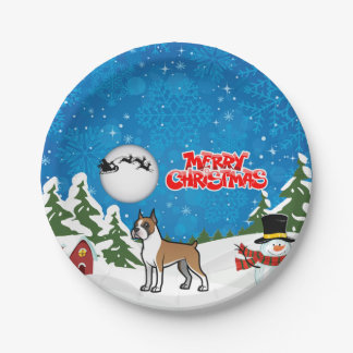 Merry Christmas Boxer With A Snowman And Santa Paper Plate