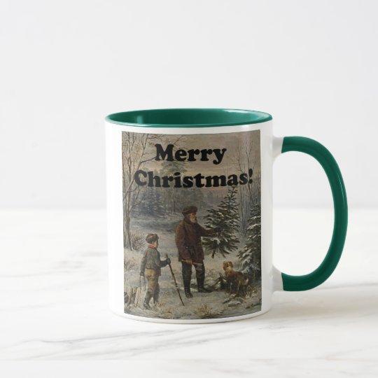 Merry Christmas Boy Father Christmas Tree Drawing Mug