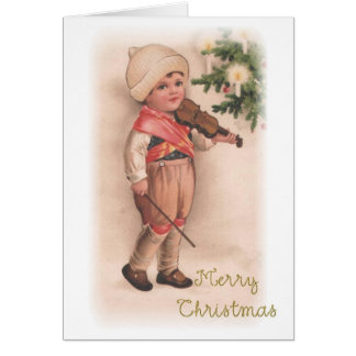 Merry Christmas Boy with Violin Card