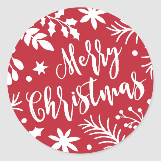 Merry Christmas Branches Holiday Sticker