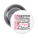 Merry Christmas Breast Cancer Ribbon Collage Buttons