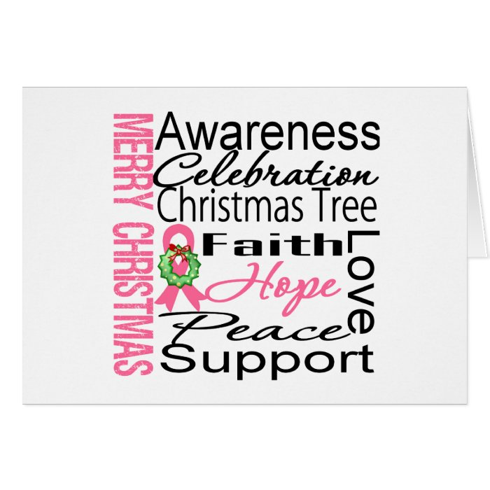 Merry Christmas Breast Cancer Ribbon Collage Greeting Card