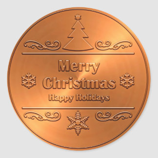 Merry Christmas Bronze Classic Round Sticker