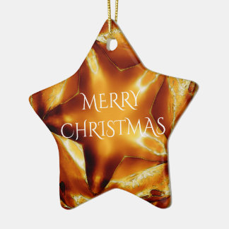 Merry Christmas Brown Gold Copper Elegant Star Christmas Ornament