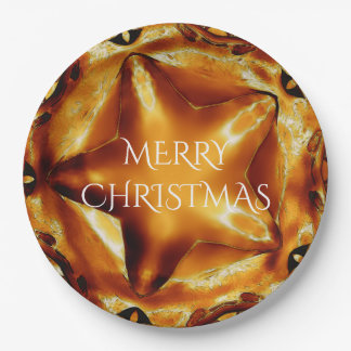 Merry Christmas Brown Gold Copper Elegant Star Paper Plate