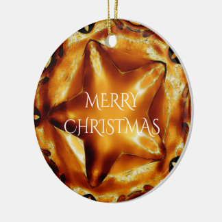 Merry Christmas Brown Gold Copper Elegant Star Round Ceramic Decoration