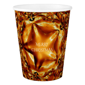 Merry Christmas Brown Gold Copper Elegant Stars Paper Cup