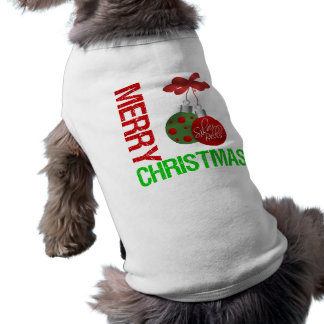Merry Christmas Bulb Ribbon Ornanment Pet Tee Shirt