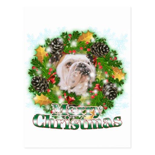 Merry Christmas Bulldog Post Card