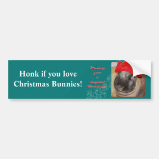 Merry Christmas Bunny Rabbit with Hat - Magical Bumper Sticker