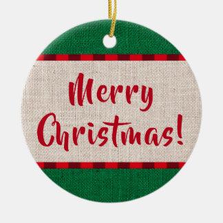 Merry Christmas Burlap Texture Monogram Christmas Ornament