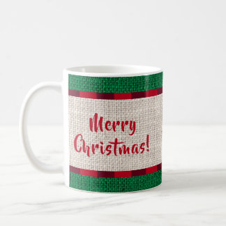 Merry Christmas Burlap Texture Monogram Coffee Mug