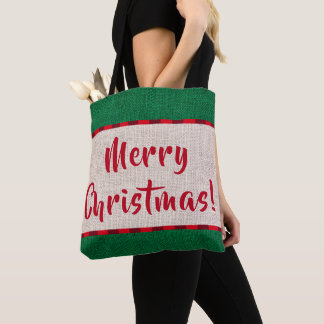 Merry Christmas Burlap Texture Monogram Tote Bag
