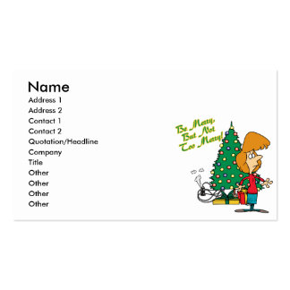 merry christmas but not too merry funny cartoon business card templates