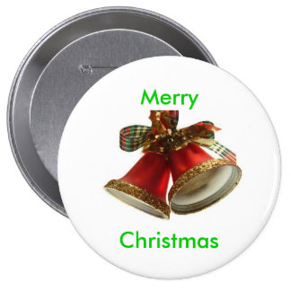 Merry, Christmas Button 4 Inch Round Button