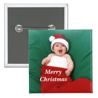 Merry, Christmas Button 2 Inch Square Button