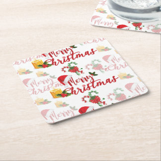 Merry Christmas Calligraphy Script Square Paper Coaster