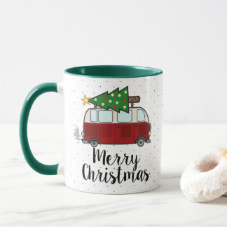 Merry Christmas Camper Hauling Tree Mug