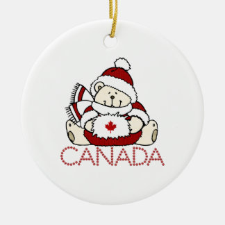 Merry Christmas Canada Bear Christmas Ornament