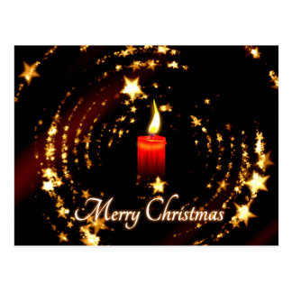 Merry Christmas candle stars illustration Postcard