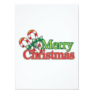 Merry Christmas Candy Cane 17 Cm X 22 Cm Invitation Card
