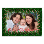 Merry Christmas Candy Cane & Garland Photo Card