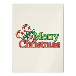 "Merry Christmas Candy Cane 6.5"" X 8.75"" Invitation Card"