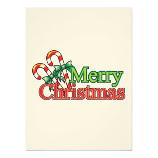 Merry Christmas Candy Cane Personalized Invitation