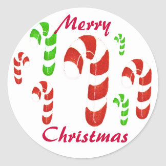 Merry Christmas Candy Cane seals Round Stickers