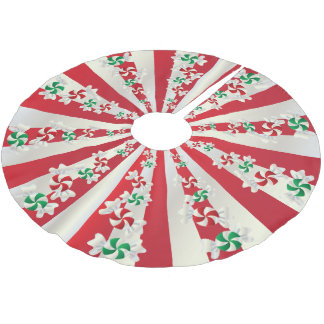 Merry Christmas Candy Mints Brushed Polyester Tree Skirt