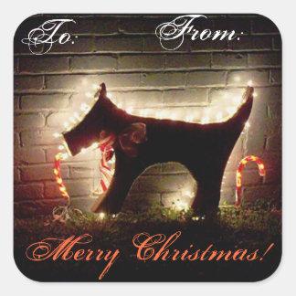 Merry Christmas Canine Dog Present Address Label S Square Sticker