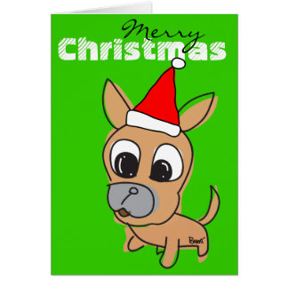 Merry Christmas Card Chihuahua Red Hat