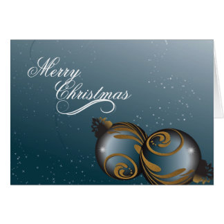 Merry Christmas Card - Elegant Teal Gold Ornaments