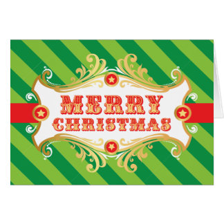 Merry Christmas Card, GREEN Holiday Carnival Card