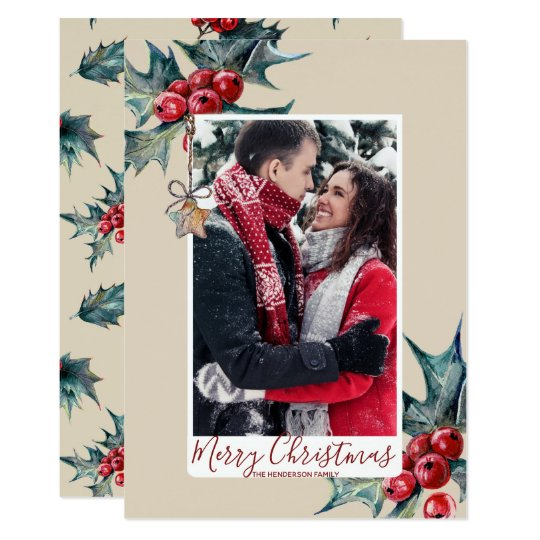 merry christmas card holiday winter foliage holly