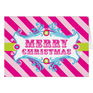 Merry Christmas Card, PINK CANDY Holiday Carnival Card